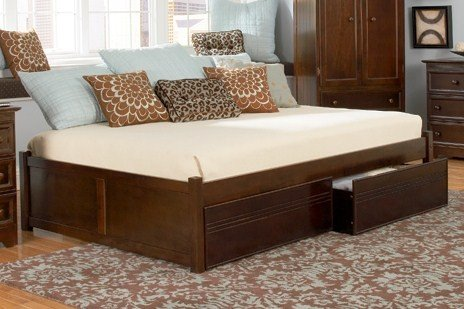 Atlantic Furniture Concord Platform Bed with 2 Flat Panel Footboards Antique Walnut/King