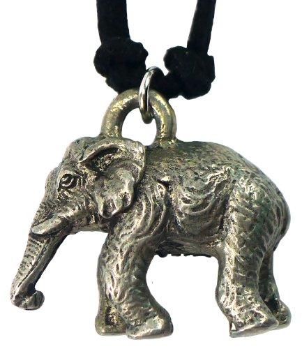 Bijoux De Ja Pewter 3D Elephant Pendant Suede Cord Necklace 16 Inches