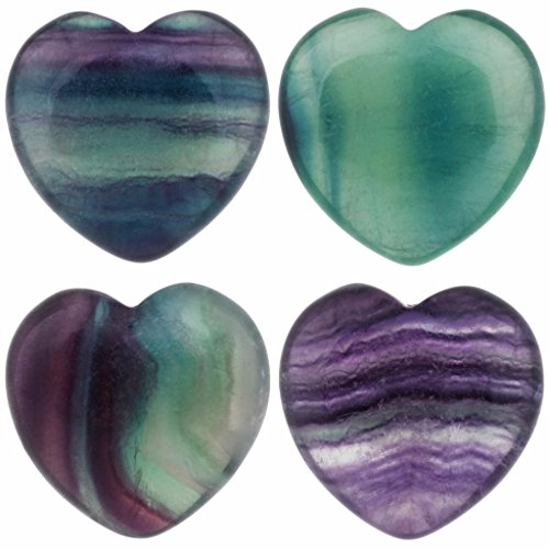 Heart Figurine (rockcloud Healing Crystal Fluorite Heart Love Carved Palm Worry Stone Chakra Reiki Balancing 0.8