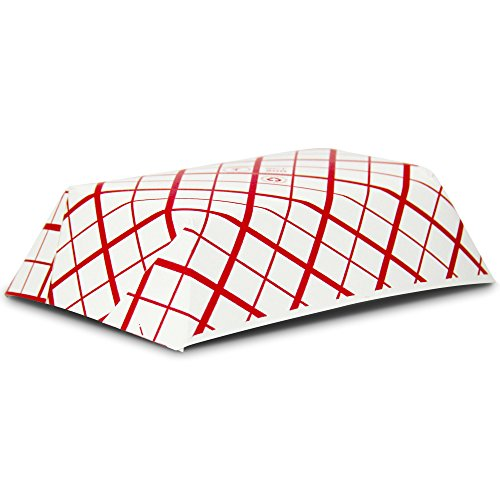 2 lb Heavy Duty Disposable Red Check Paper Food Trays Grease Resistant Fast Food Paperboard Boat Basket for Parties Fairs Picnics Carnivals, Holds Tacos Nachos Fries Hot Corn Dogs [250 Pack] by Fit Meal Prep (Image #3)