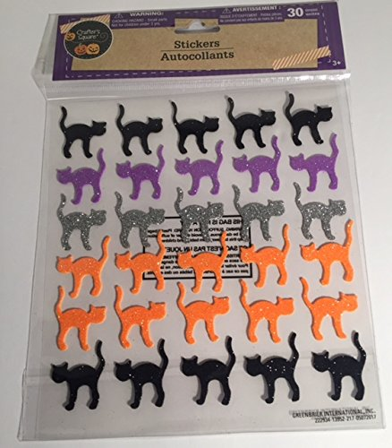 Multi Colored Halloween Cats Stickers (30 (Cat Halloween Costumes Walmart)