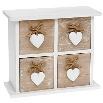 Shabby Chic Provence Heart Square Four Drawer Mini Chest by Shudehill Gifts