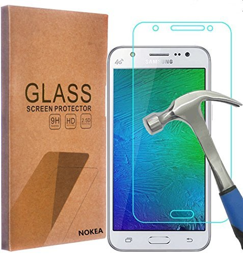 Samsung Galaxy J7 Screen Protector, NOKEA [Tempered Glass] with [9H Hardness] [Crystal Clear] [Easy Bubble-Free Installation] [Scratch Resist] (for Galaxy (Cartoon With Glasses)