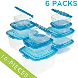 Mr. Lid 10 Piece Attached Lid Plastic Container, Clear with Blue Lids - 6 Packs