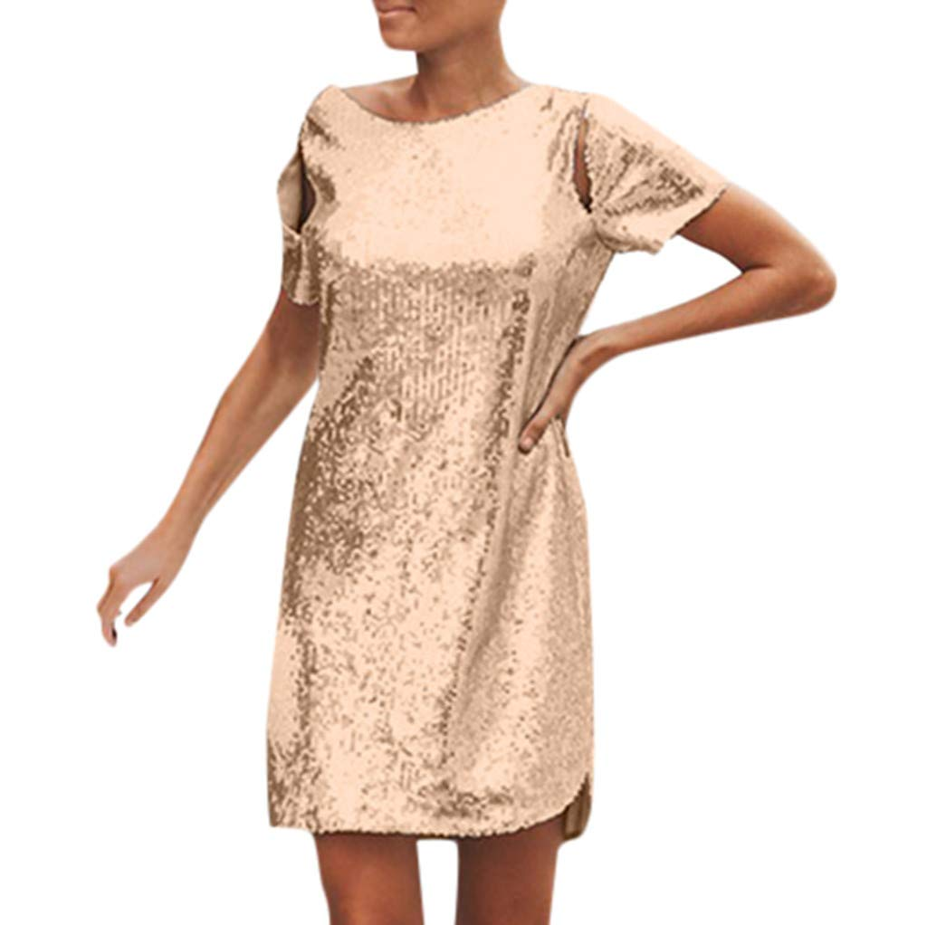TWGONE Mini Dresses for Women Party Club Night Sexy Short Sleeve Sequin Straight Backless Clubwear Party Dress(Large,Khaki) by TWGONE