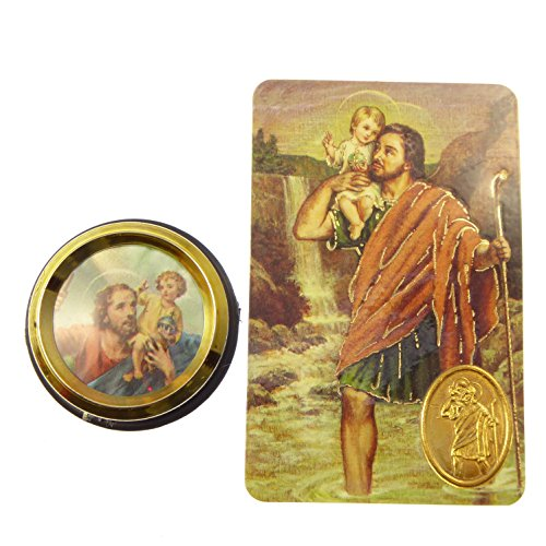 St. Christopher car plaque gift magnet adhesive gold + prayer card colour pic