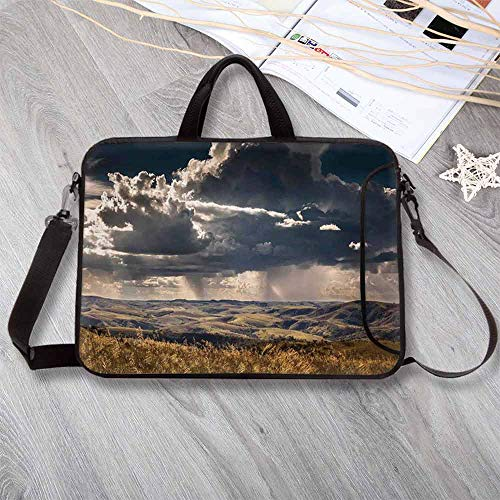 - Farmhouse Decor Anti-Seismic Neoprene Laptop Bag,Puffy Clouds in Sky Over Mountains Rough Valley Canyon Natural Wonders Concept Laptop Bag for Travel Office School,13.8