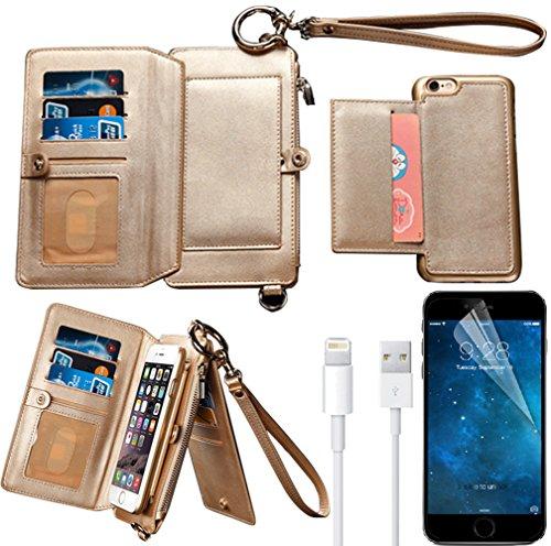 iPhone 6s Plus Wallet Case, iPhone 6 Plus Case,Bonice Premium Leather Zipper Wallet Multifunctional Detachable Removable Purse Card Slot Pocket Wallet Pouch Protective Cover for iPhone 6/6s Plus, Gold