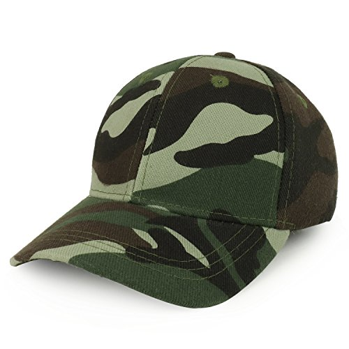 Trendy Apparel Shop Plain Youth Size Kid's Adjustable Structured Baseball Cap - - Camo Adjustable Youth Cap