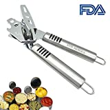 Can Opener Manual Stainless Steel Material with Comfortable Handle for Safe and Efficient Opening (Silver)