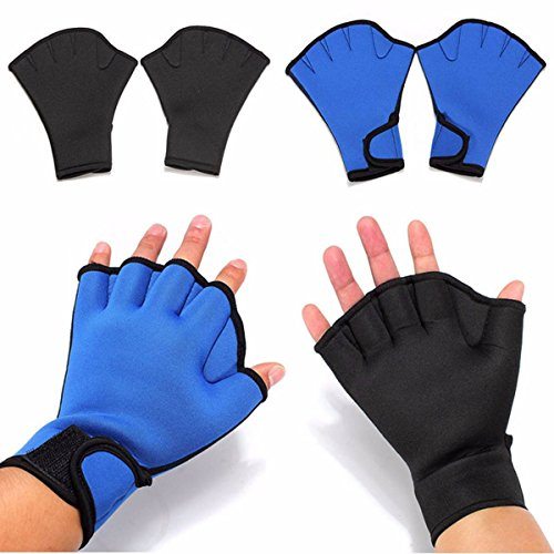 CAMTOA Schwimmhandschuhe Fitness Webbed Fingerlose Swim Handschuh , Ideal für Fitness Surfing Paddle Schwarz M