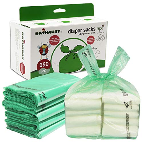 Baby Disposable Diaper Bags - 100% Biodegradable Diaper Sacks with Baby Powder Scent & Added Baking Soda to Absorb Odors - 250 Count (Green)