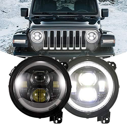 BUNKER INDUST Wrangler JL LED Headlights, 2 Pcs 9 Inch Round Headlamp Halo DRL for Jeep Wrangler JL 2018 2019 High Low Beam Headlight with Daytime Running Light DRL