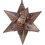 Fiesta Star Light Pendant, Bronze, Multi Colored Marbles 16 in
