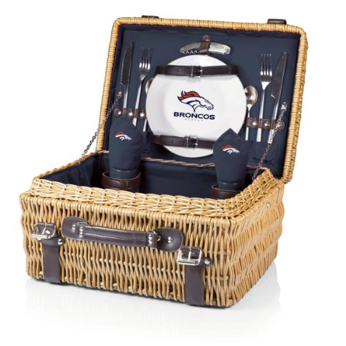 NFL Denver Broncos Champion Picnic Basket with Deluxe Service for Two, Navy