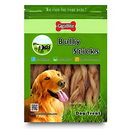 GigaBite 6 Inch Odor-Free Braided Bully Sticks (1-Pound) – USDA & FDA Certified All Natural, Free Range Beef Pizzle Dog Treat – By Best Pet Supplies by Best Pet Supplies, Inc. (Image #3)