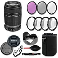 Canon EF-S 55-250mm f/4-5.6 IS II Lens Deluxe Accessory Bundle includes High Definition Filters, Macro Close Up Kit, Lens Pouch, Tulip Lens Hood, Lens Caps and More....