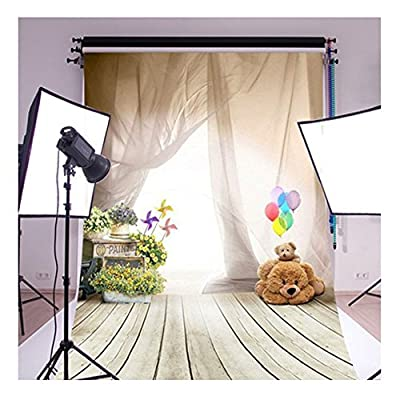 3x5ft White Veil Balloon Cute Bear Windmill Wooden Floor Studio Photo Photography Background Studio Backdrop Props best for Wedding, Personal Photo Wall Decor Baby Children Kids Newborn Photo