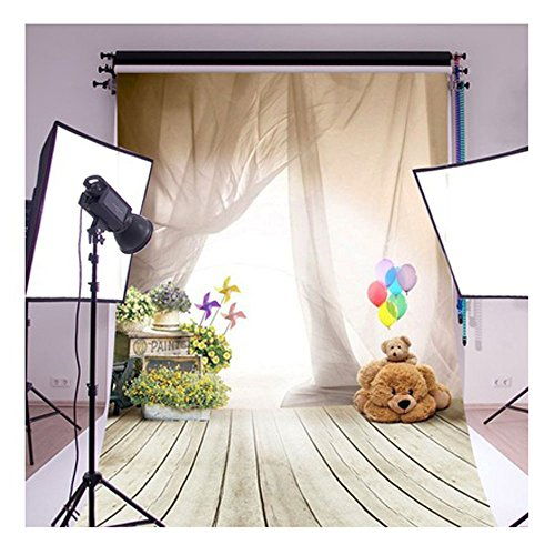 Price comparison product image FUT Newest Romantic White Curtains Paints Baby Bears & Wooden Floor Vinyl Wedding Backdrop Background for Wedding,  Baby,  Newborn,  Personal Photo 3x5ft