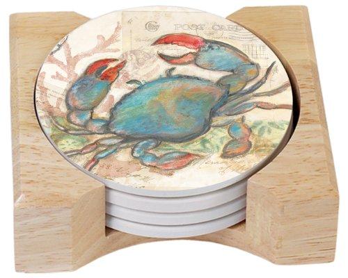 CounterArt Seaside Garden/Blue Crab Design Absorbent Coasters in Wooden Holder, Set of 4 ()