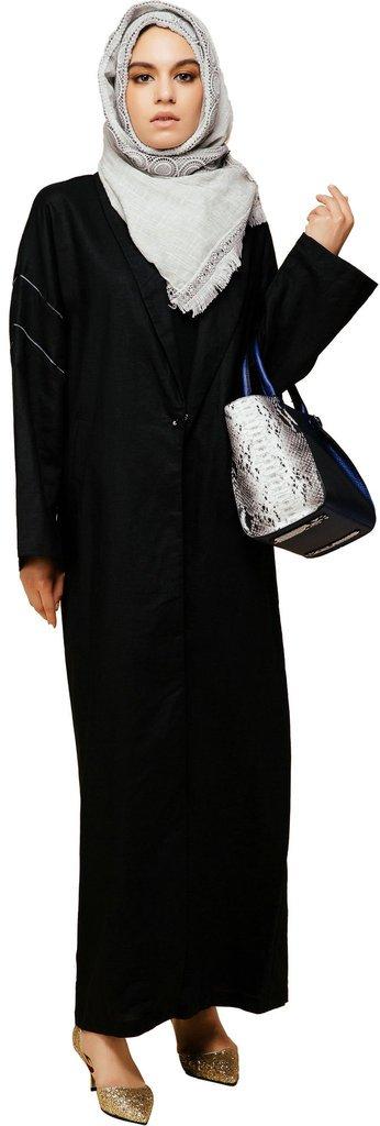 YI HENG MEI Women's Elegant Modest Muslim Islamic Arabic Cotton Linen Lapel One Button Trench Coat,Black,XL