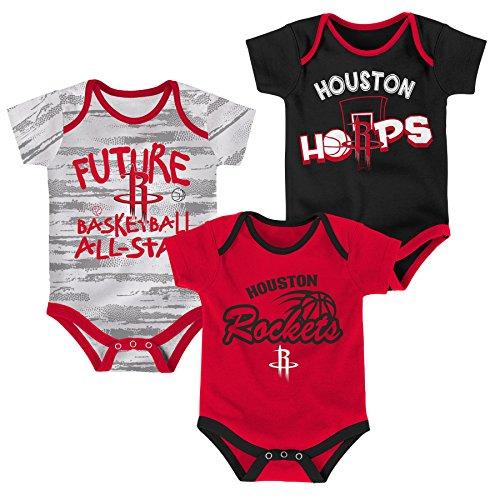 NBA Newborn & Infant 3 Piece Onesie Set Houston Rockets-Red-3-6 Months