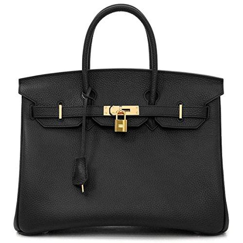 Macton European And American Classic Padlock Genuine Leather Top Handle Handbags Mc 1329  13 8   Black