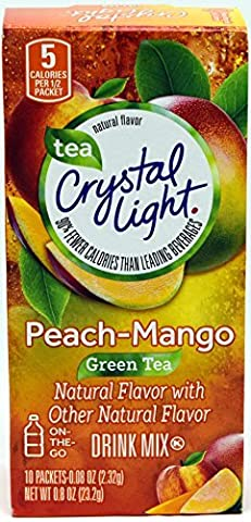 Crystal Light On The Go Peach Mango Green Tea Drink Mix, 10-Packet Box (Pack of 6) - 99 Peaches