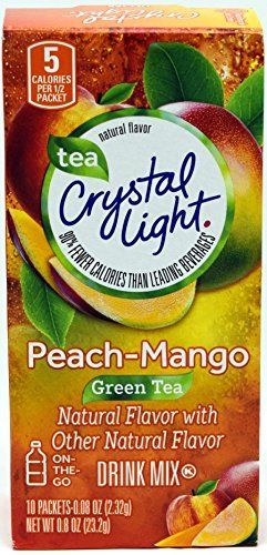 Crystal Light On The Go Peach Mango Green Tea Drink Mix, 10-Packet Box (Pack of 6)