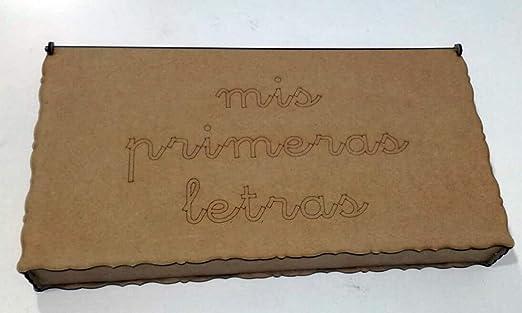 Caja de madera con divisiones para guardar letras