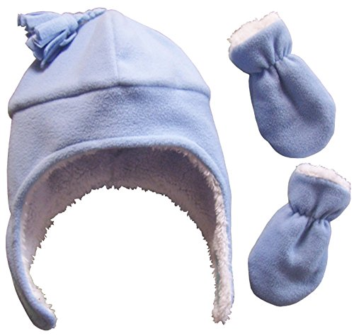 N'Ice Caps Boys Sherpa Lined Micro Fleece Pilot Hat and Mitten Set (6-18 Months, Light Blue Infant)