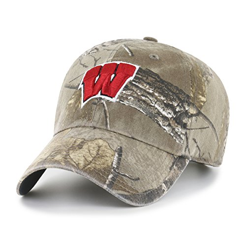 (NCAA Wisconsin Badgers Realtree OTS Challenger Adjustable Hat, Realtree Camo, One Size)