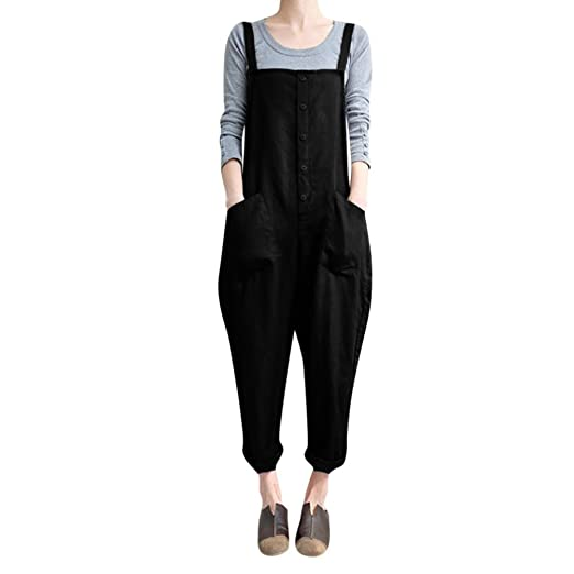 7b55f102a2b1 Women Large Plus Size Baggy Linen Overalls Casual Wide Leg Pants Sleeveless  Rompers Jumpsuit Vintage Haren