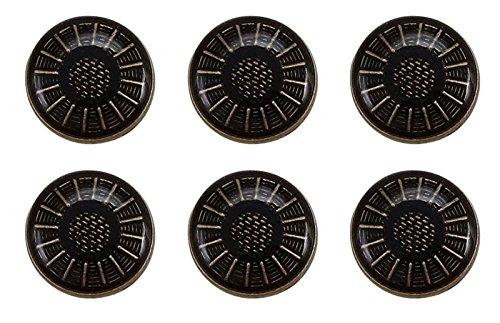 Metal Coat Round Embossed Black Button Embellishment Shank Blazer Sewing ()