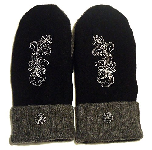 Integrity Designs Sweater Mittens, 100% Wool, Black and Gray with Polar Fleece Lining, Adult Size Medium / Large Ladies