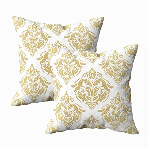 - Musesh 18x18 Pillow Cases, Pack of 2 Classic Pattern Damask Orient Golden Ornament Vintage Background Orient Fabric and Packaging Wallpaper for Sofa Home Decorative Pillowcase Throw Pillow Covers