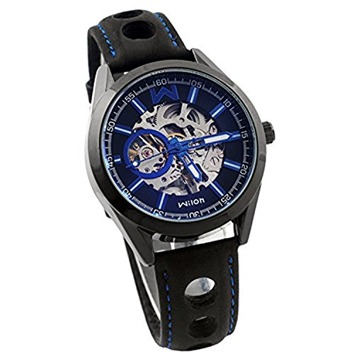 Wilon Skeleton Automatic Watch Blue With Leather Band