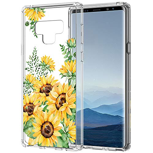 Flocute Galaxy Note 9 Case, Galaxy Note 9 Clear Floral Pattern Case Slim Clear Case with Soft TPU Bumper Hard PC Back Cover for Samsung Galaxy Note 9 - (Sunflower)