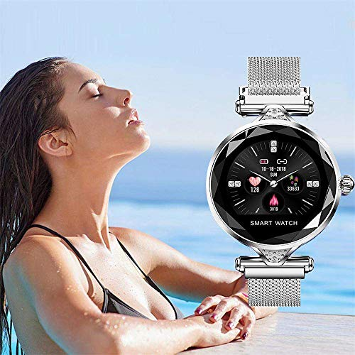 Bluetooth Sport Watch, YiMiky Smart Watch Heart Rate Monitor Fitness Watch Call/SMS Reminder Fitness Tracker for Women Pedometer Multi Modes Activity Tracker Calories Step Counter - Silver by YiMiky (Image #6)