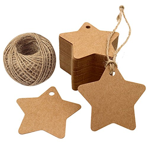 G2PLUS 100 PCS Star Hang Tags with String, Kraft Blank Gift tag with 100 Feet Natural Jute Twine (Brown) (Star Cards Place)