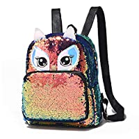 Cute Owl Reversible Sequin Backpack for Girls School Book Pack for Teens Lightweight Travel Backpack