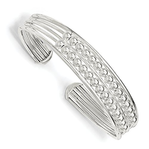 ICE CARATS 925 Sterling Silver Beaded Flexible Cuff Bangle Bracelet Expandable Stackable Fine Jewelry Gift For Women Heart by ICE CARATS