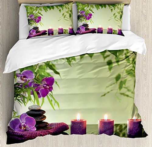 Spa Decor Duvet Cover Set King Size by Ambesonne, Zen Stones Aromatic Candles and Orchids Blooms Treatment Vacation, Decorative 3 Piece Bedding Set with 2 Pillow Shams by Ambesonne