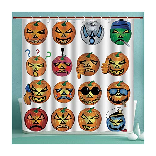 SHXJHOME Waterproof Shower Curtain Collection with Hooks, Carved Pumpkin with Emoji Faces Halloween Humor Hipster Monsters Art, Hand Drawing Effect Fabric Shower Curtains, 72x72 -