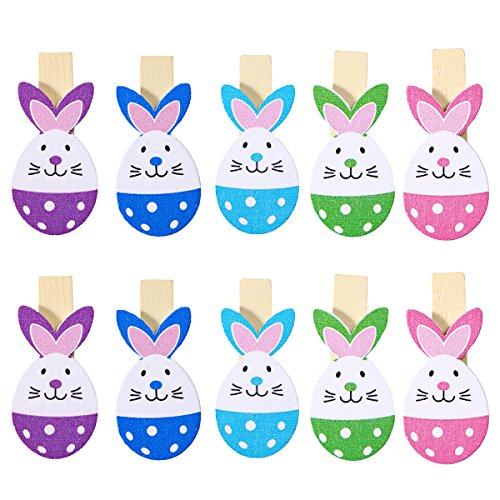 OULII Rabbit Photo Clips Peg Wooden Picture Clips Holder Craft Clothespins Note Memo Card Holder Easter Party Hanging Ornaments (Rabbit Peg)