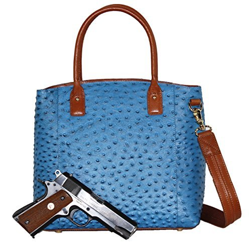 Ostrich Cross Body Bag - Concealed Carry Purse - Concealment Ostrich Town Tote - Left and Righthand Draw - CCW - by Gun Tote'n Mamas (Blue)