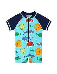 HUANQIUE Baby Toddler Boys Swimsuit Rash Guard Sunsuit UPF 50+ Sealife 6-12 Month