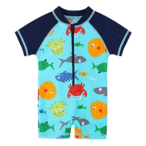- HUANQIUE Baby Toddler Boys Swimsuit Rash Guard Sunsuit UPF 50+ Sealife 2-3 T