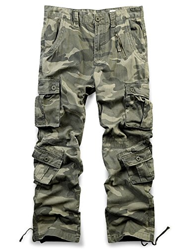 Jessie Kidden Men's Casual Military Cargo Pants, 8 Pockets Cotton Wild Combat Tactical Trousers,7533 Yellow Camo,30 by Jessie Kidden