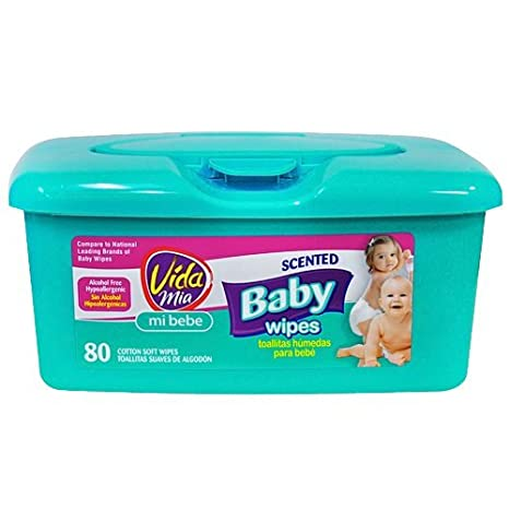 Amazon.com : Vida Mia Scented Baby Soft Wipes. 80 Cotton Wipes in Plastic Container : Baby Wipe Holders : Baby